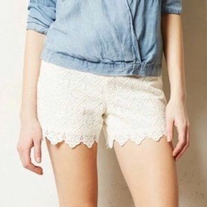 Anthropologie White Scalloped Lace Short Elevenses